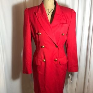 Atrium Collection Red Double Breasted Trench Coat